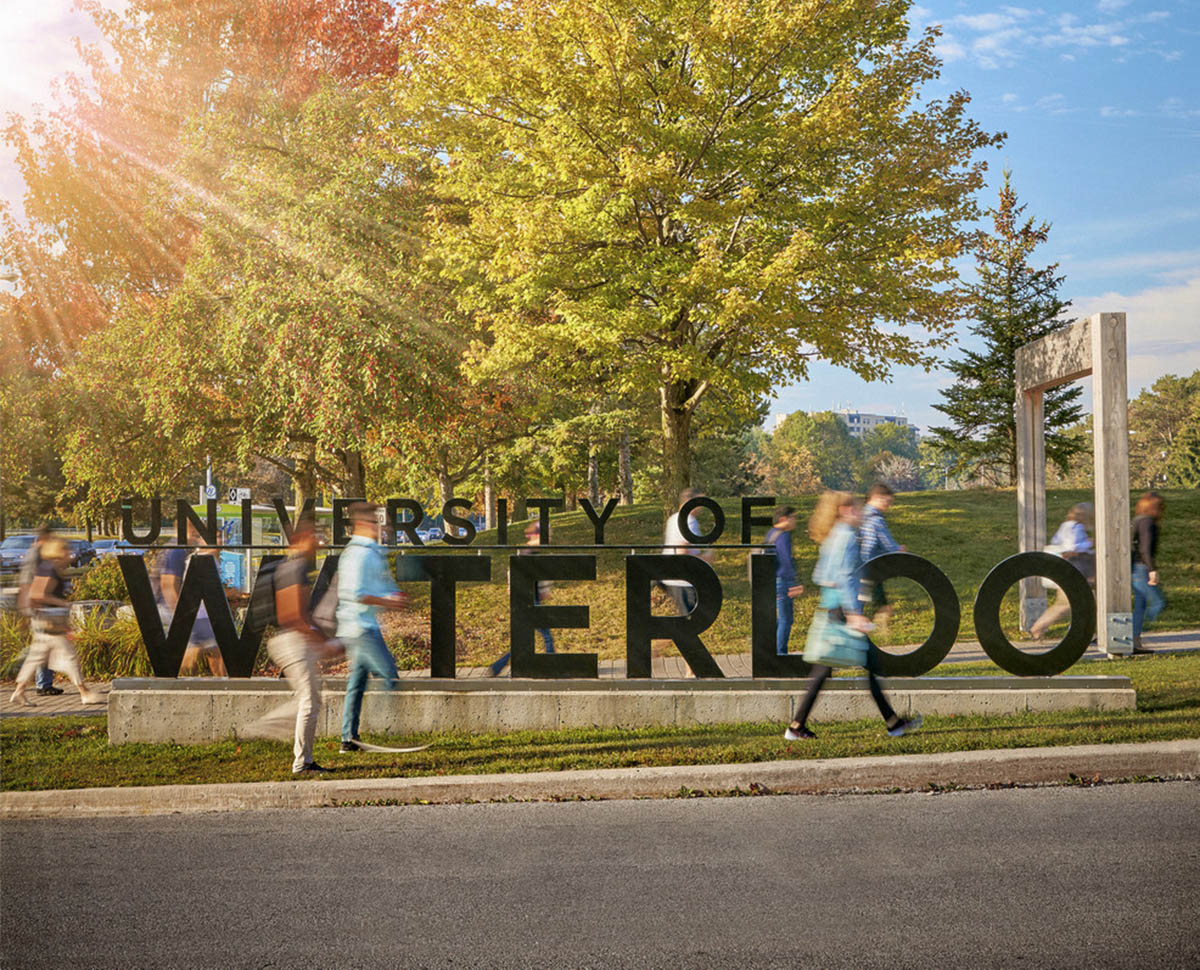 Image shows students on the University of Waterloo Campus